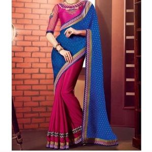 Other - Georgette and Chiffon two tone saree with blouse